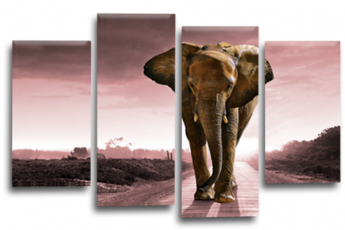 Sunset African Elephant Landscape Grey Pink Wall Art Picture Print